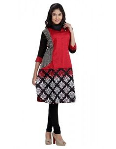 Fancy Black & Brick Red Ready Made Kurti Rs.2,245 25% OFF