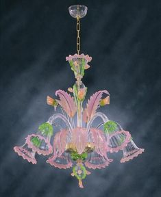 Entirely hand-made Murano glass chandelier in transparent crystal with pink, green and golden decoration. Chandelier For Sale, Murano Chandelier, Chandelier Lighting, Venetian Glass, Vintage Lighting, Beautiful Lights, Recycling, Decoration, Glass Art