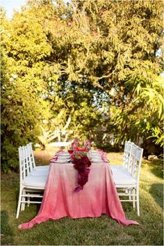 Pink ombre tablecloth