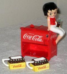 Betty Boop Coca-Cola Mini Tea Set Miniature Ceramic Vandor 11354 Coke NIB 2000 $20