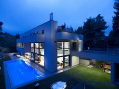 Extraordinary House with Pool for Exercising and Playing with Family: Contempory House Exterior Ideas Applied In House In Dionysos Design Fi...