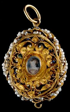 A Tudor period antique gold and pearl pendant locket, Scottish, late 16th century. Preserved by the Clerks of Penicuik as a relic of Mary, Queen of Scots