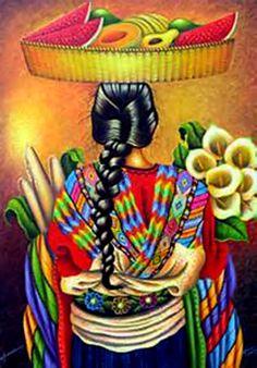 Chichicastenango by Ottoniel Chavajay - GINA Gallery of International Naive Art Guatemalan Art, Art Chicano, Arte Latina, Hispanic Art, Peruvian Art, Peruvian Women, Mexican Paintings, Latino Art, Mexican Heritage