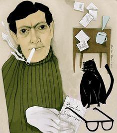 Julio Cortázar, Illustration for Caderno 2 Newspaper A TARDE by Anita Dominoni