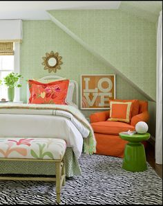 Fun bedroom colors, Orange and green.   The zebra rug is to die for!