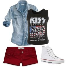my rust colored skinny jeans instead of shorts, replace Kiss tee with Green Day and we have ourselves an outfit. Kiss, created by amandagrace18 on Polyvore