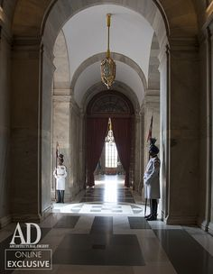 One of many corridors characterized by polished and patterned floors. #Attendants, #Patterned Floors, #Marble, #Corridor, #Rashtrapati Bhavan, #Delhi Photographer: Derry Moore