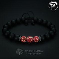 Mens Bracelet, Adjustable Bracelet, Jewelry For Men and Women, Red Bracelet, Gemstone Bracelet, Mothers Day Gift by JuniperandEloise on Etsy