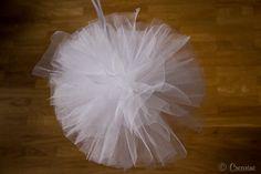 Je vous présente aujourd'hui un tutoriel tout simple pour faire un joli pompon tout rond en tulle. Ideal pour décorer une salle de mariage, une cérémonie...
