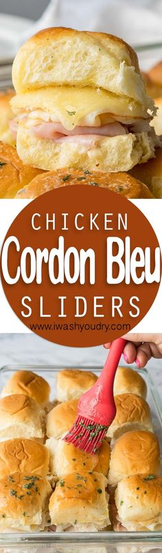These Buttery Chicken Cordon Bleu Sliders have layers of swiss cheese, thinly sliced deli ham and chicken with an irresistible honey mustard sauce on buttery soft roll, then baked till hot and extra gooey. (Double the honey mustard sauce) Appetizer Recipes, Appetizers, Dinner Recipes, Slider Sandwiches, Steak Sandwiches, Sliders Burger, Mini Sliders, Slider Recipes, Burger Recipes