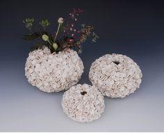 White Modern Pottery Hydrandgea Vase - Textured Porcelain Clay -  Large Size. $225.00, via Etsy.