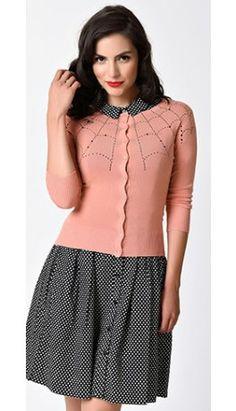 1950s Style Coral Pink Three-Quarter Sleeve Spiderweb Cardigan