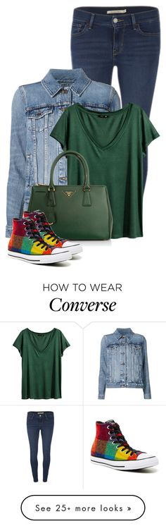 """My color shoes"" by bella8 on Polyvore featuring Levi's, H&M, Prada and Converse"