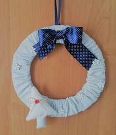 Christmas sewn wreath blue