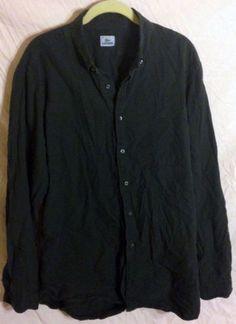 Men's LACOSTE Dress Shirt Black size L Cotton Black Logo Button Down Collar EUC