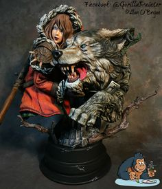 Wolf and Girl painted by Alan O'Bryan
