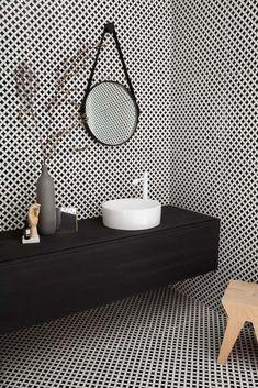 Deco D'Antan Etoile in Blanc Noir - contemporary - Bathroom - Los Angeles - Walker Zanger Best Bathroom Tiles, Bathroom Tile Designs, Modern Bathroom Decor, Bathroom Interior Design, Small Bathroom, Bathroom Ideas, Bad Inspiration, Bathroom Inspiration, Deco Design