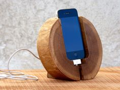 iPhone Docking Station. Wood iPhone Stand. Handcrafted iPhone Charging Station. Brown color iPhone dock. on Etsy, $70.67