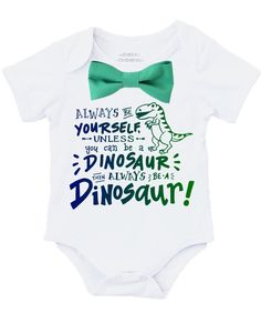 fdae5c5002c7 Baby Boy Dinosaur Outfit with Blue or Green Bow Tie Birthday Outfit Gift