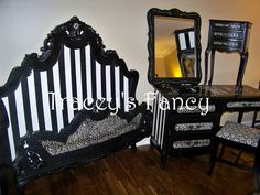 Furniture, vintage french provincial, nightstand, mirror, bedroom suite, traceys fancy, custom painted desk vanity, Vintage Hollywood, tbellion, black white, Shabby stripes, decoupage leopard