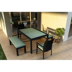 Ivy Bronx Eichhorn 5 Piece Wicker Dining Set with Cushions Color: Canvas Spa
