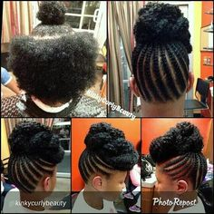 Cant wait for my hair to be long enough for this.half braided then marley hair bun.quick and safe protective style Pelo Natural, Natural Hair Updo, Natural Hair Care, Natural Hair Styles, Wavy Updo, Soft Updo, Bun Updo, African Hairstyles, Braided Hairstyles
