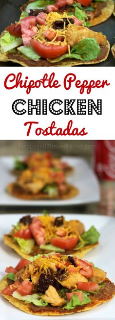 In under 30 minutes you can have a Mexican-style open faced sandwich! Chipotle Pepper Chicken Tostadas #MejorRecetas Perfect for entertaining or hosting family over the holidays. AD