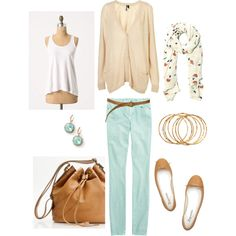 """Aqua and Tan"" by bluehydrangea on Polyvore"