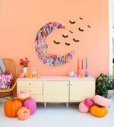 Halloween Wall Decor, Chic Halloween, Halloween Projects, Diy Halloween Decorations, Halloween House, Halloween Ideas, Happy Halloween, Pink Halloween, Halloween Stuff