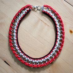 Collana filo di cotone arancio, bianco e nero : Collane di cimba