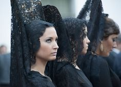 "Ladies in ""mantilla"" during Holy Week in Sevilla"