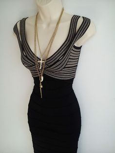 6abe8ed595ca Jane Norman gold and black bandage stretch bodycon dress, size 12 UK, 40 EUR