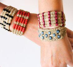 Beaded Woven Bracelet Boho Bracelet Hemp by totalhandmadeD on Etsy