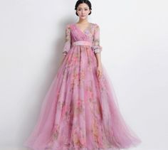 SALE Bohemian Longsleeve Pink Tulle Floral Aline by ChineseHut, $179.00