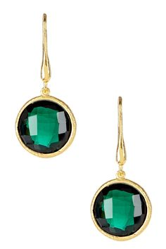 Candela 18K Yellow Gold Plated Sterling Silver Green Hydro Quartz Dangle Earrings