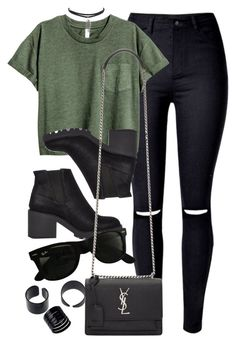"""""""Style #11127"""" by vany-alvarado ❤ liked on Polyvore featuring River Island, Ray-Ban and Yves Saint Laurent"""