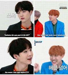 LOL. I really like J-Hope and Suga in this comeback