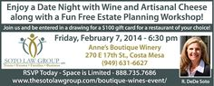 Free Wine & Cheese Date night by Soto Law Group to educate parents about estate planning on 2/7...