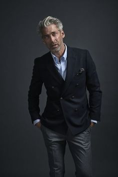 The Gentlemans Guide to Casual Fridays Patyrns Black double breasted jacket with gray dress pants Older Mens Fashion, Mens Fashion Suits, 50 Fashion, Fashion Clothes, Fashion For Men Over 50, Fashion Vest, Work Fashion, Fashion Rings, Casual Clothes For Men Over 50