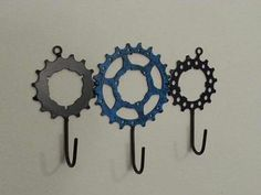 Coat hooks made from old sprockets.
