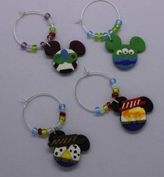 Disney Inspired Wine Charms by LotsOfHappiness on Etsy Wine Charms, Clay Charms, Polymer Clay Crafts, Felt Crafts, Toy Story, Disney Keychain, Disney Jewelry, Toy Craft, Disney Crafts