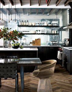 Loft kitchen with antique mirror backsplash