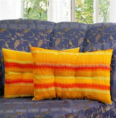 Zari Stripe Yellow Filled Pillow Cover (Pack of 2) By Dekor World