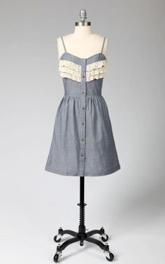 Denim Ruffle Tank Dress