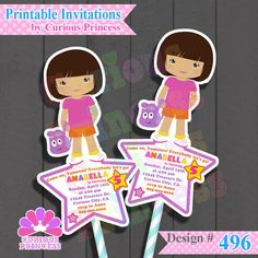 Dora the explorer la exploradora birthday party ideas $15.00 unique printables printable digital files invitations supplies food decorations costume inspired pink t-shirt orange shorts backpack only at www.CuriousPrincess.com