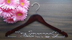 Personalized Keepsake Hanger, Custom Made Bridal Wedding Hangers with Names, Bridal Shower Gift Idea, Wedding Photo Props by thefogshoppe on Etsy https://www.etsy.com/listing/112709252/personalized-keepsake-hanger-custom-made