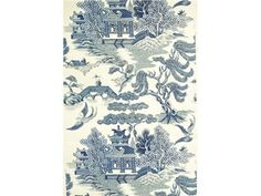 Lee Jofa WILLOW LAKE BLUE/CREAM P2009010.5 - Lee Jofa New - New York, NY, P2009010.5,Lee Jofa,Print,Print,Blue, White,Blue, White,X,Up The Bolt,Asian,USA,Asian,Yes,Lee Jofa,Yes,WILLOW LAKE BLUE/CREAM