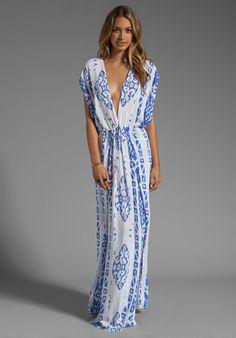 INDAH Jade V Neck Draped Lounge Dress in Borneo Violet at Revolve Clothing - Free Shipping!
