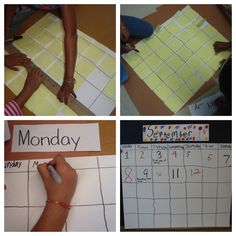 Constructing the calendar working as a team to complete the goal.