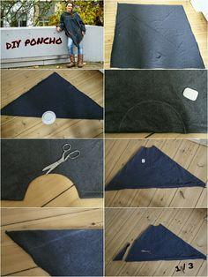 Anleitung für den Poncho mit Kapuze › Anleitungen, Do it yourself, Genähte Kleidung, Mode › DIY Poncho, kostenlose Schnittmuster, Nähanleitung Poncho, Poncho nähen